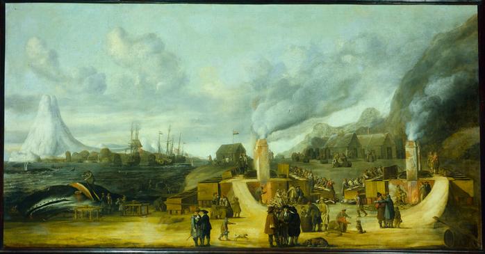 De traankokerij van de Amsterdamse Kamer der Groenlandse Compagnie op Amsterdam Eiland bij Spitsbergen (700x365, 341Kb)