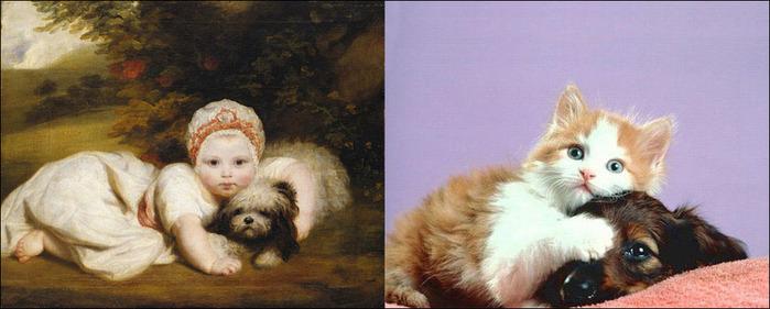 кошки в живописи 1 (700x281, 78Kb)