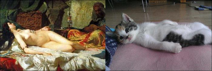 кошки в живописи 15 (700x236, 73Kb)