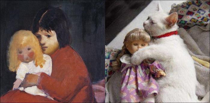 кошки в живописи 20 (700x343, 82Kb)