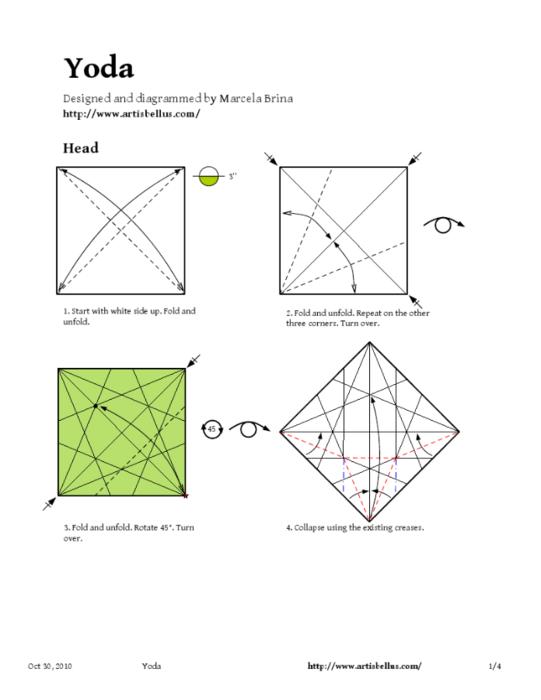 """Здесь схемы для модульного оригами чтоб сделать из бумаги персонажа из  """"Звездных войн """" и Китти."""