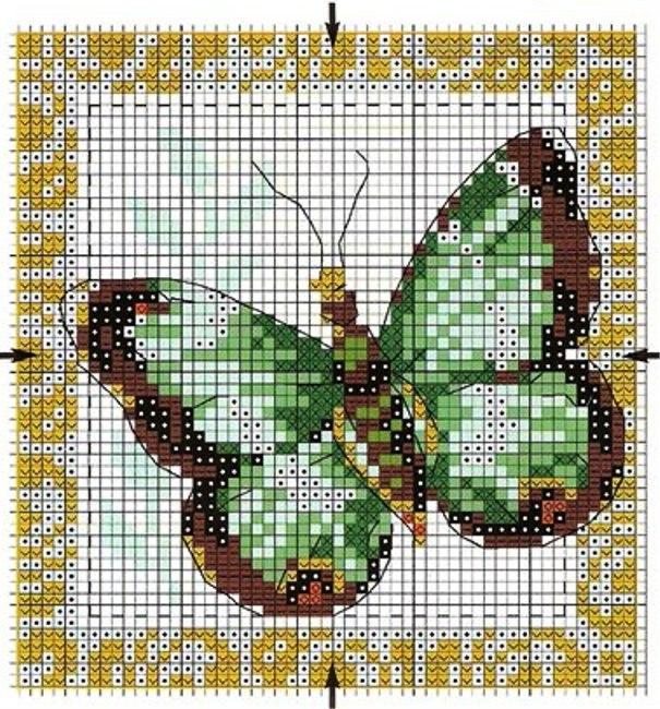 """Схема вышивки крестом  """"Бабочка """" ."""