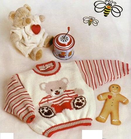 Детский свитер с мишкой.