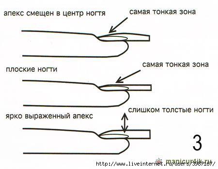 Схема наращивания ногтей на форму