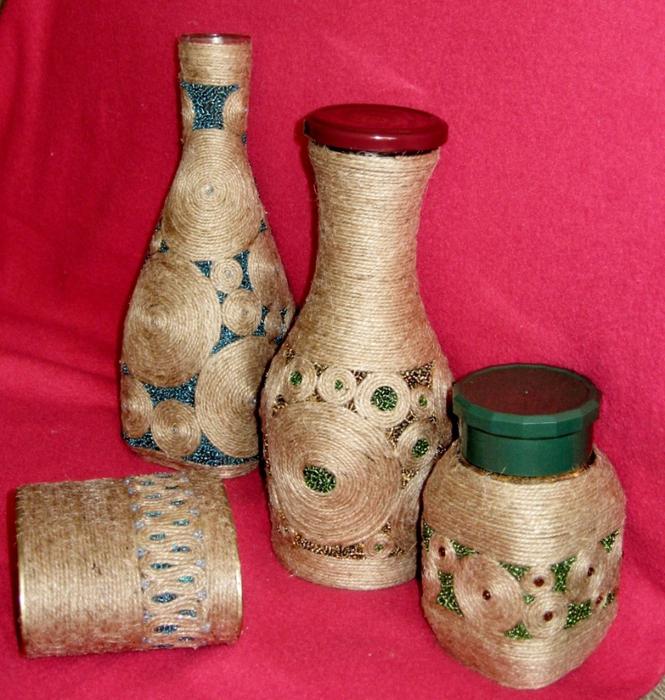 Мастер класс декорирования бутылки шпагатом