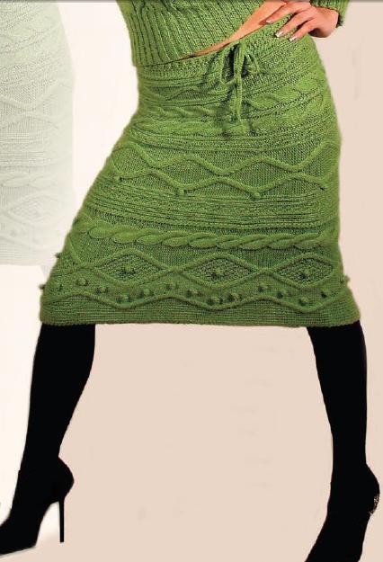 Стильная вязаная юбка спицами