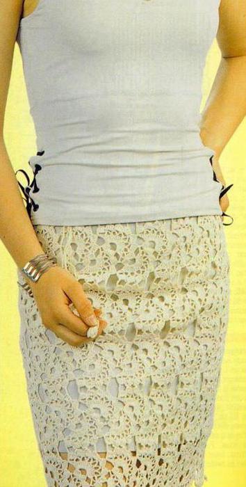 Вязание юбок ленточным кружевом 90