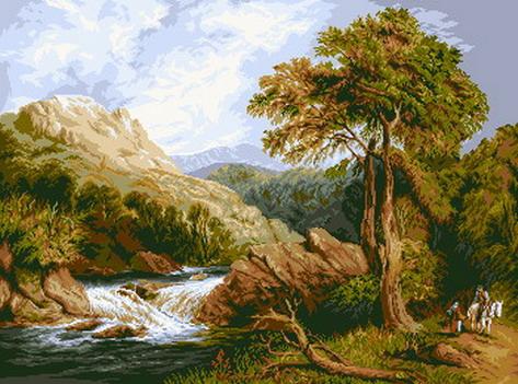 Расширенное описание для Набор для вышивки гобелена Горная река.