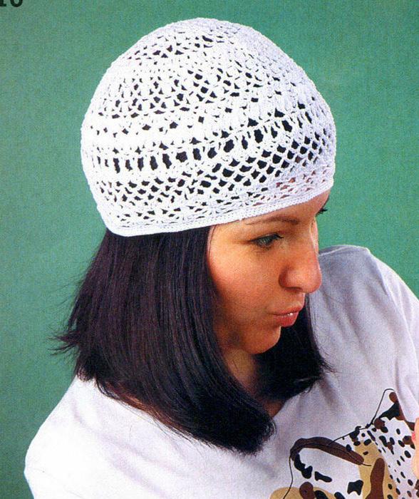 Берет вязанная шапка ажурная 2