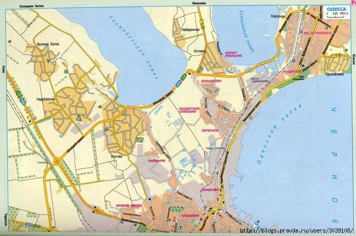 Большая крупномасштабная карта Одессы.  Скачать бесплатно карту.