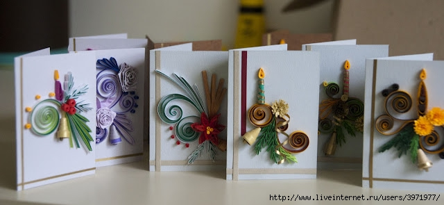 Новый год открытки квиллинг