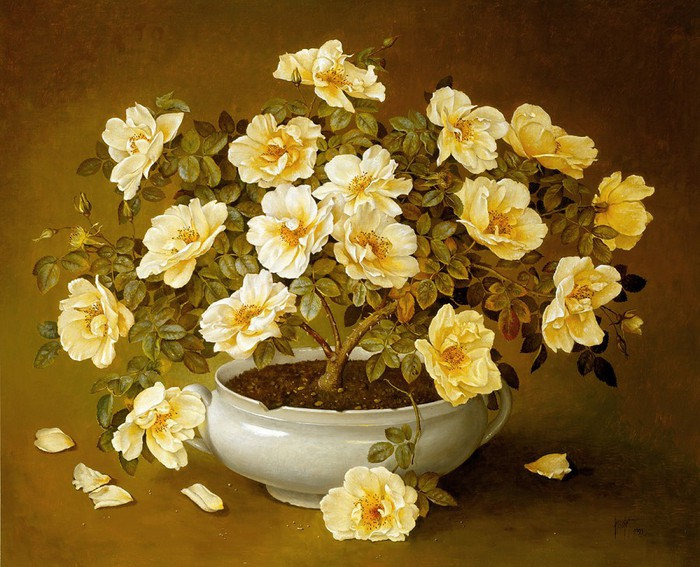 YELLOW ROSE TREE IN WHITE POT 76x91 oil on canvas on panel 1993 (700x567, 124Kb)