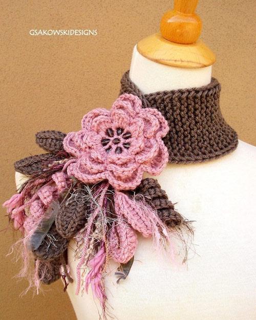 Вязание шарфов с цветами 69