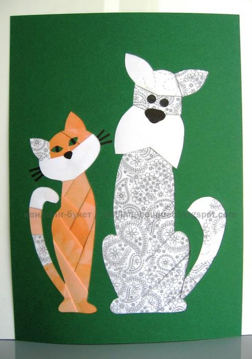 Схема кошки с собакой здесь, кошка отсюда.  Квиллинг-букет.
