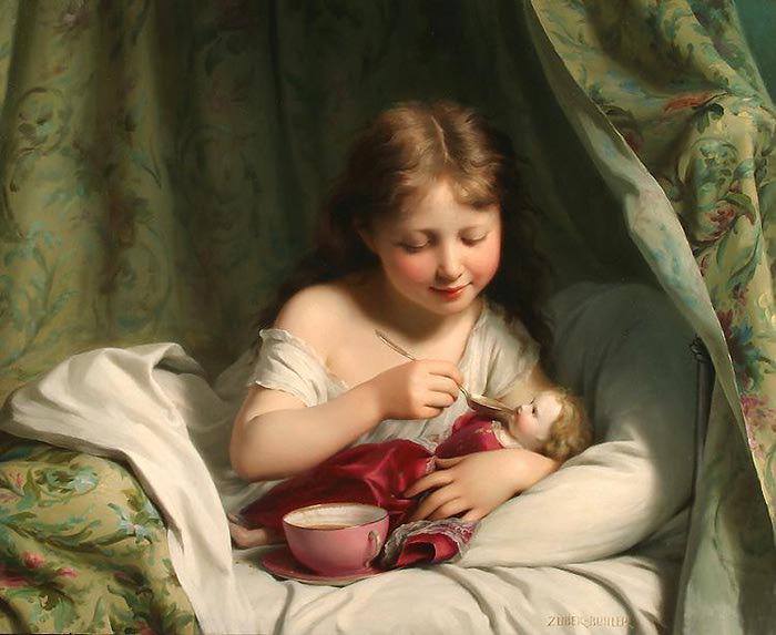 Girl feeding her doll, by Fritz Zuber Buhler (700x573, 51Kb)