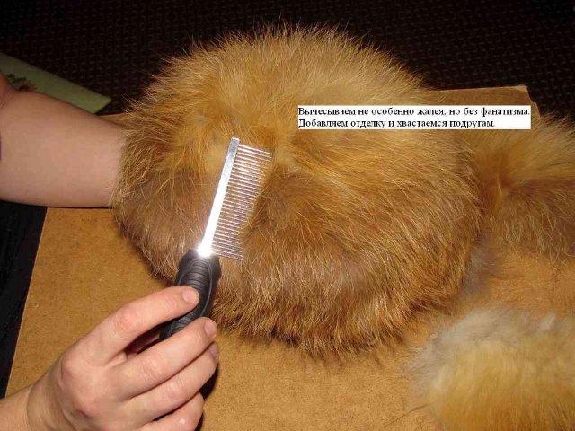 Гардероб, Вязание крючком, : Вязаная шапка из меха чернобурки Мех.