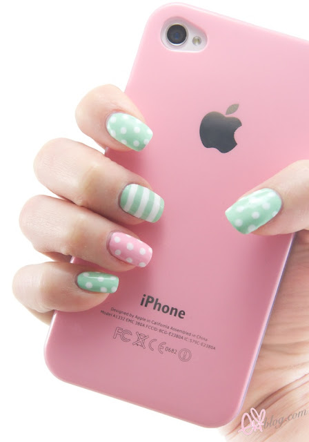ekiblog kawaii polka dots spring nail art mint green nail polish 1 (448x640, 42Kb)