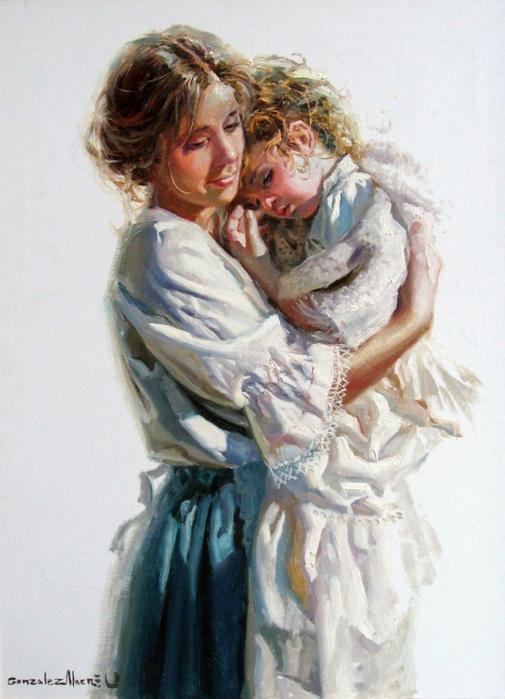 """Схема вышивки """"Мама с дочкой."""