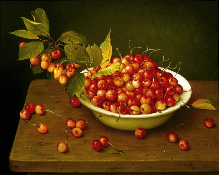 WHITE BOWL OF CHERRIES 46x56 cms oil on canvas 1992 (700x560, 98Kb)