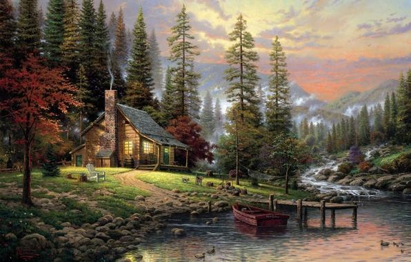 A Peaceful Retreat, Thomas Kinkade (596x380, 207Kb)