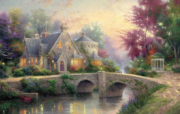 Lamplight Manor, Thomas Kinkade (596x380, 108Kb)