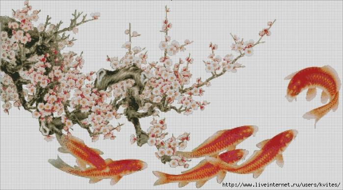 Ветка сакуры с рыбками (700x387, 240Kb)