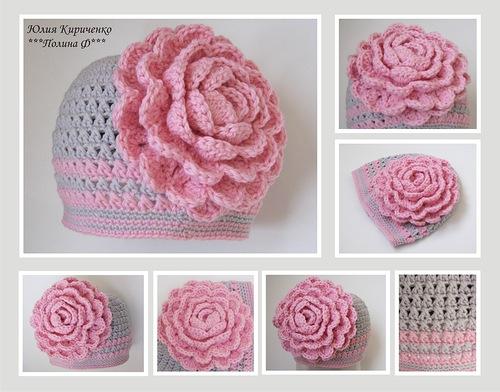 Вязание крючком шапочки и цветочки