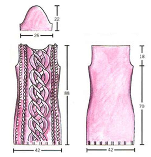 платье вязаное косами спицами.