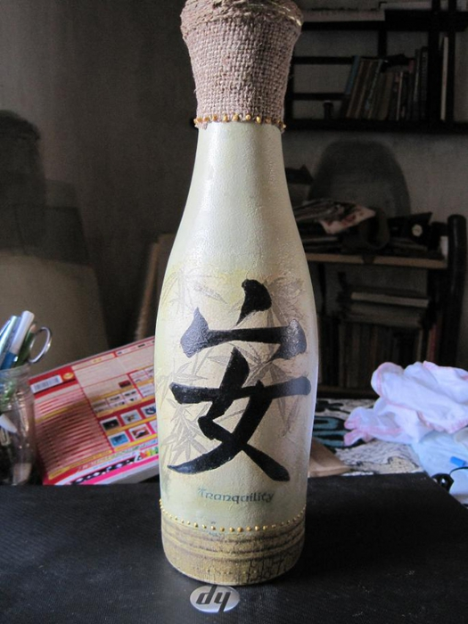 МК, прямой декупаж, одношаговый кракелюр, декупаж бутылок