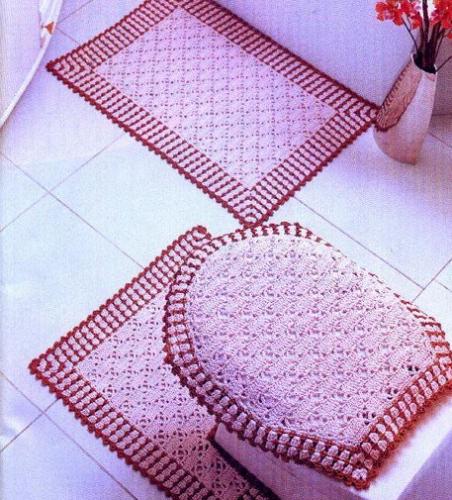 Вязаные коврики для ванной