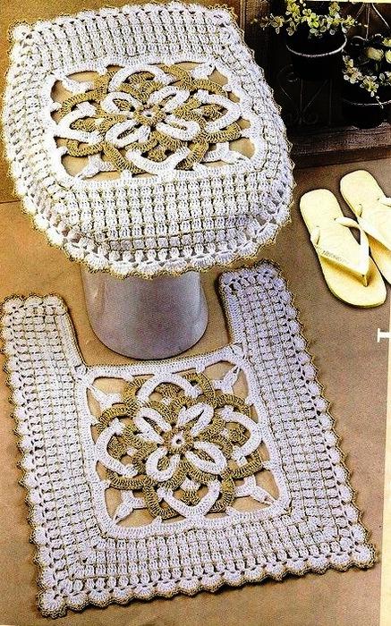 Вязаные коврики для ванной комнаты