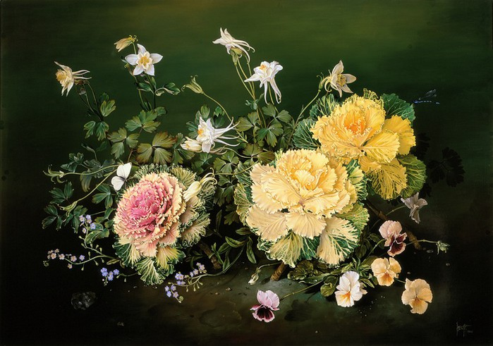 ORNAMENTAL CABBAGES 61x86 cms Oil on canvas 1997 (700x491, 106Kb)