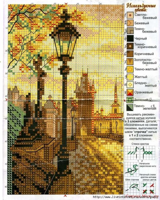 Схемы вышивки крестом пейзажи городские