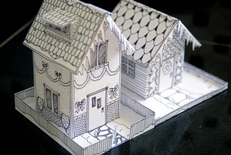 Зимний домик из бумаги.