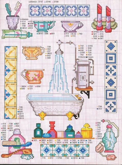 Вышивка крестом на туалет и ванную