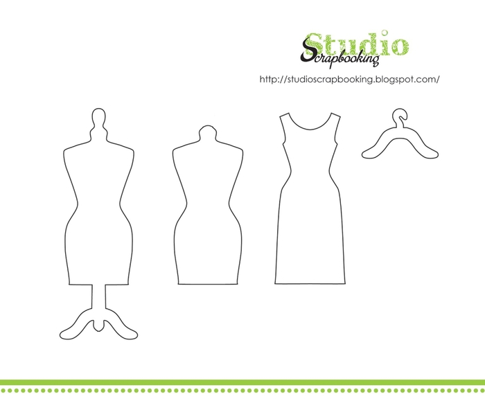 Открытка скрапбукинг платье шаблон 52