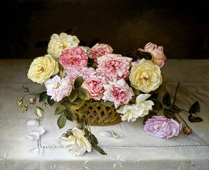 BASKET OF MIXED ROSES ON TABLE CLOTH 56x66 cms oil on canvas on panel 1993 (700x571, 112Kb)