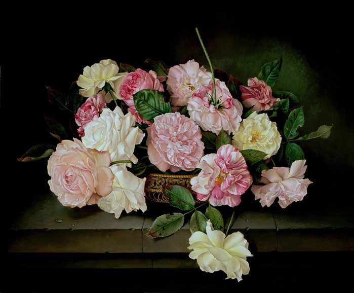 BASKET TRAY OF ROSES ON STONE SHELF 46x56 cms Oil on canvas 1996 (700x578, 85Kb)