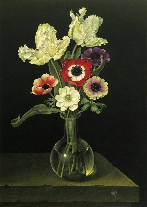 GLASS VASE WITH MIXED ANEMONES 63x46 cms Gouache 1989 (497x700, 226Kb)