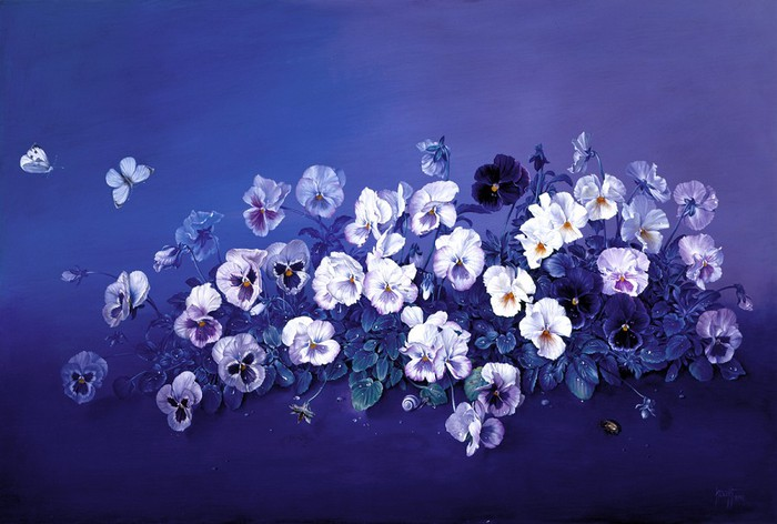 PPANSIES IN MORNING DEW 24x36 inches-61x91 cms oil on canvas 1999 copy (700x472, 79Kb)