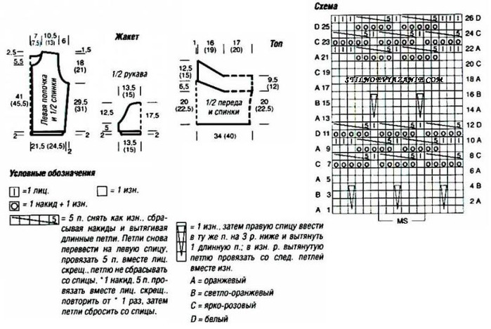 Схема вязания спицами жакета и топа.