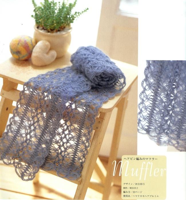 Вязание шарфа из мохера 1