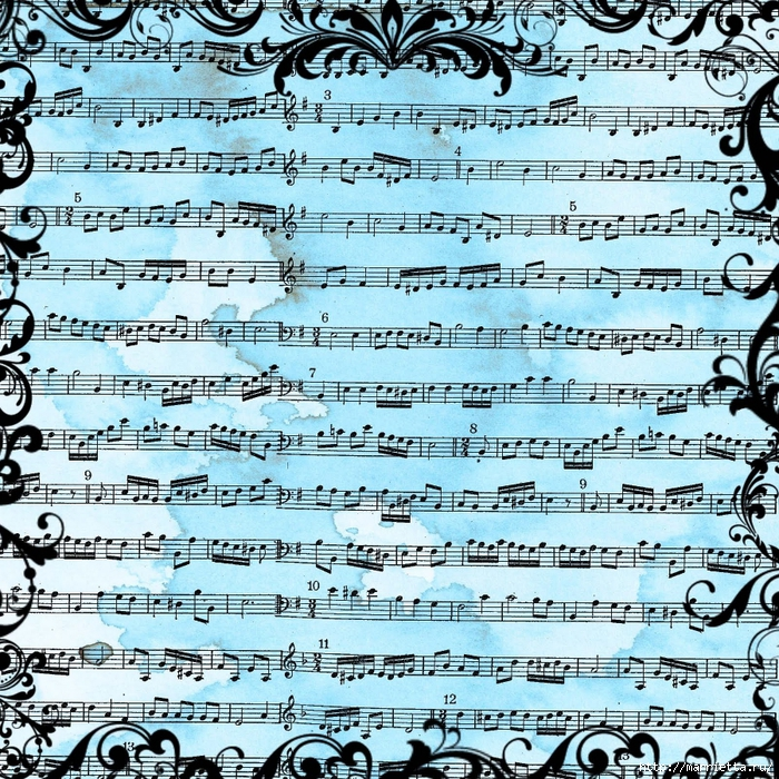 free digital scrapbook paper_blue grunge music sheet background (700x700, 592Kb)