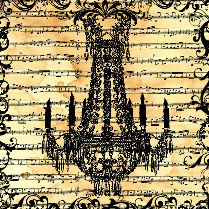 free digital scrapbook paper_music sheet chandelier collage (700x700, 670Kb)