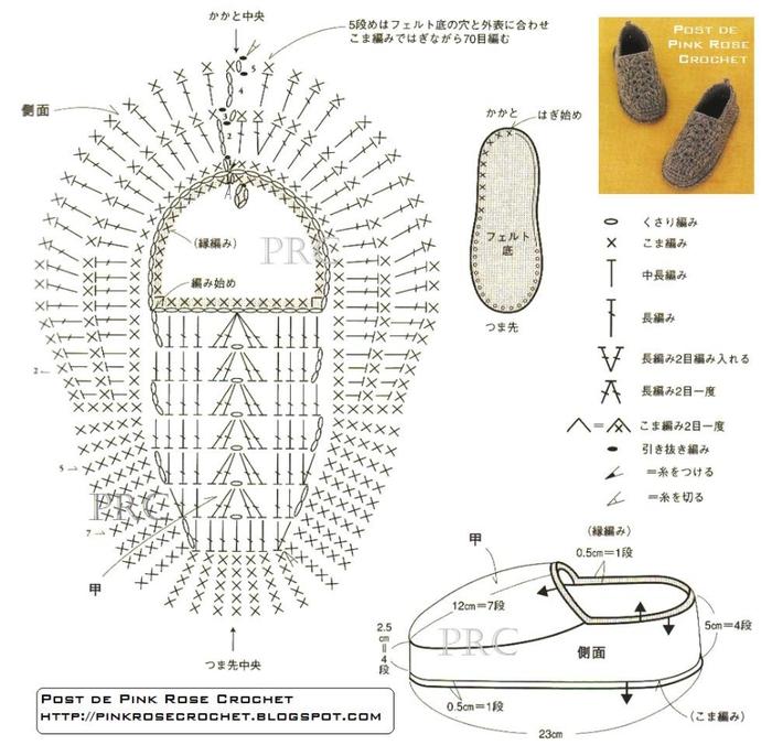 Схема вязания тапок спицами