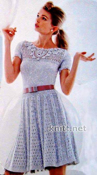 Серебряное платье спицами и крючком