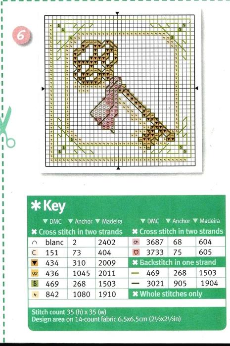 схема с ключом для вышивки павлины