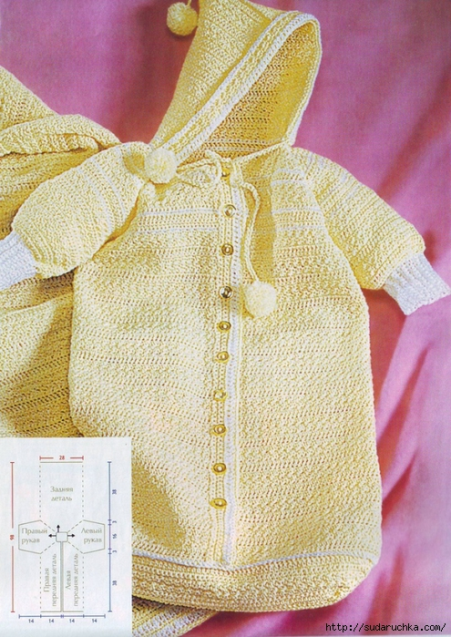 Вязание крючком и спицами схемы и модели бесплатно для новорожденных. .  Вязаный конверт для новорожденного с...