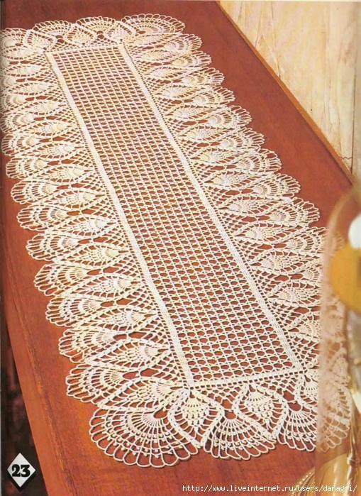漂亮的菠萝边钩针桌垫(图解)