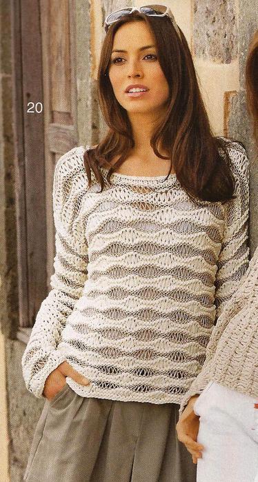 Пуловер из узора со спущенными петлями